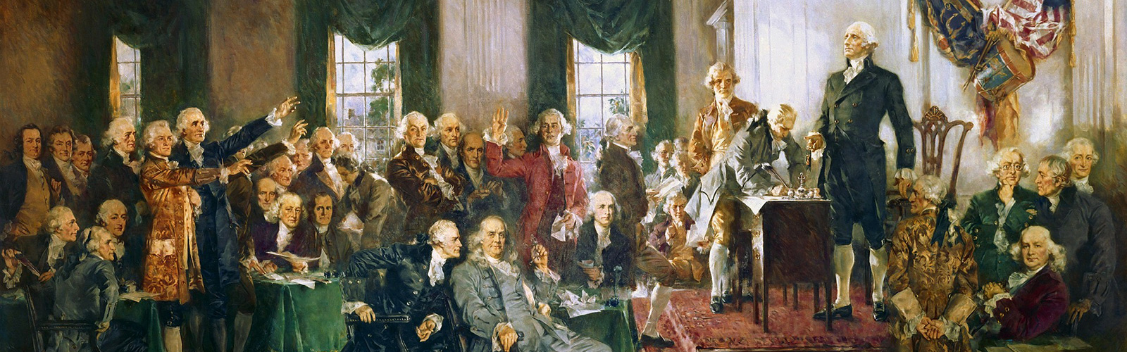 Painting by Gerd Altmann of the signing of the US Constitution.